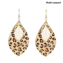 Load image into Gallery viewer, faux leather Leopard Print earrings