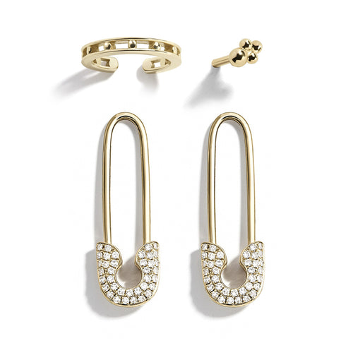 Safety Pin Cartilage  Hoop Earrings