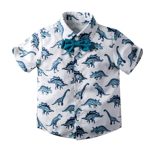 Baby and Boys Dinosaur Button-Front Shirt