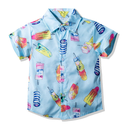 Short Sleeve All-Over Popsicle Graphic Shirt
