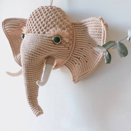 Handmade straw elephant for home decoration