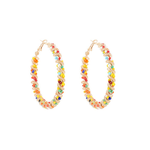 Bohemian Circle Beaded Hoop Earrings