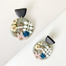 Load image into Gallery viewer, Flower Statement Polymer Clay Stud Earrings