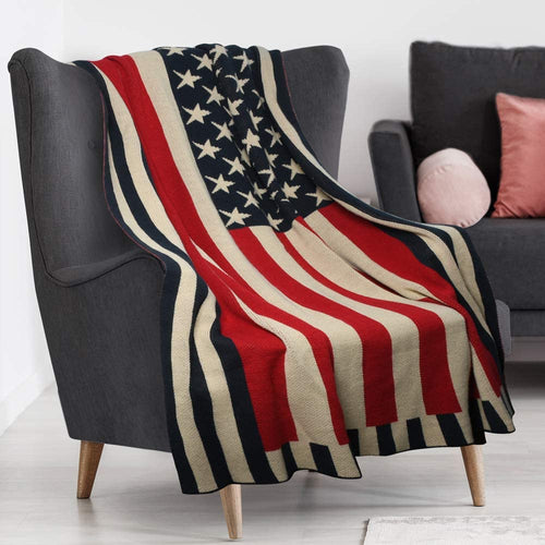 US Flag Knitted Blanket