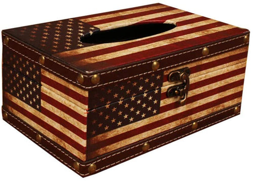 American Flag Wooden Tissue Box Cover Holder