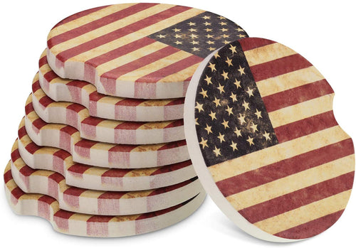 8 Packs USA Flag Cup Coasters Ceramic