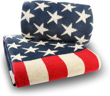 Load image into Gallery viewer, US Flag Knitted Blanket