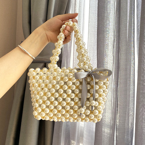 Womens Beaded Pearl Tote Handbags