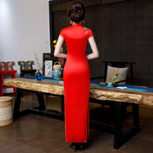 Load image into Gallery viewer, Embroidery Red Brocade Qipao