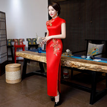 Load image into Gallery viewer, Embroidery Red Brocade Cheongsam