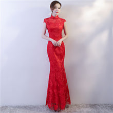 Load image into Gallery viewer, Long Mermaid Qipao with Lace Embroidery Details