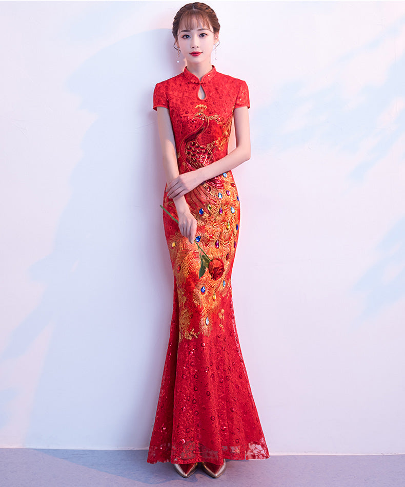 Sequins Embellished Embroidery Mermaid Wedding Cheongsam