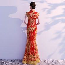 Load image into Gallery viewer, Lace Embroidery Mermaid Chinese Wedding Cheongsam Dress