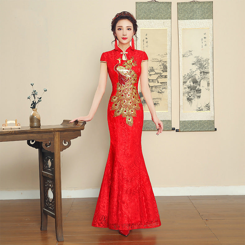 Floral Lace Overlay embroidery Wedding Cheongsam