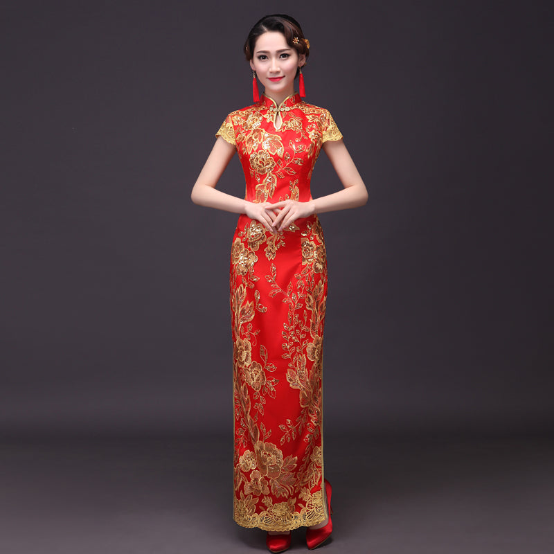 Sequin Lace Embroidery Cheongsam Dress