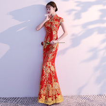 Load image into Gallery viewer, Lace Embroidery Mermaid Wedding Qipao Dress