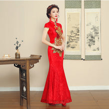 Load image into Gallery viewer, Floral Lace Overlay embroidery Wedding Cheongsam
