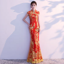 Load image into Gallery viewer, Lace Embroidery Mermaid Wedding Cheongsam Dress