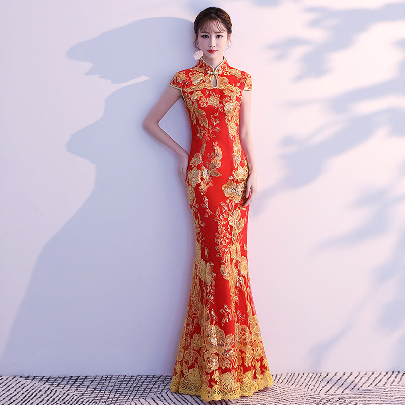Lace Embroidery Mermaid Wedding Cheongsam Dress