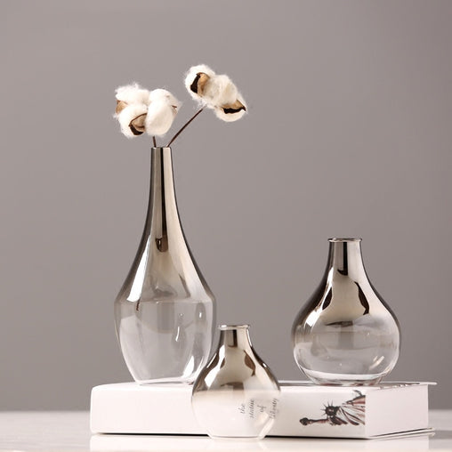 Creative Silver Gradient Nordic Glass Vase