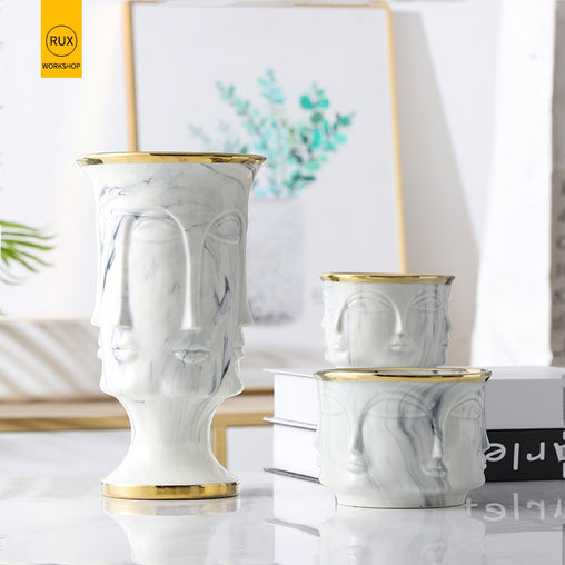 RUX WORKSHOP Nordic Face Shape Designs Best Marble Ceramic Vase flower pot Gold Home Decoration Accessories Tools