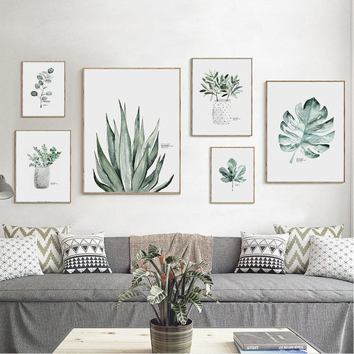 Living Room Decoration Minimalist Watercolor Vase Green Plant Art Poster Wall Art Print Canvas Painting Picture For Modern Home