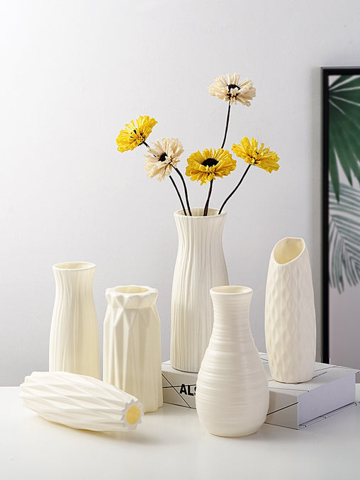Plastic Flower Vase Decoration Home White Vases Imitation Ceramic Vase Flower Pot Decoration Nordic Style Basket without Flower