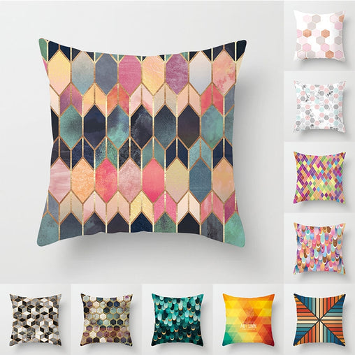 Colorful Velvet Geometry Pattern  Home Decorative Cushion Covers
