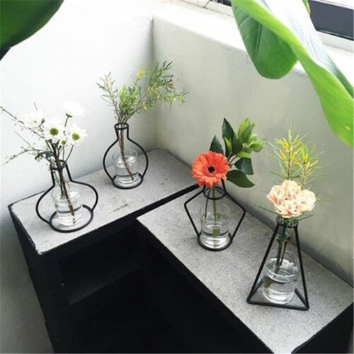 Creative Nordic Minimalist Abstract Vase Lines Black A Iron Flower Vase Dried Flower For Home Decor