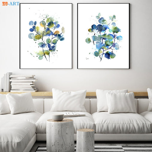 Abstract Green Blue Eucalyptus Wall Art