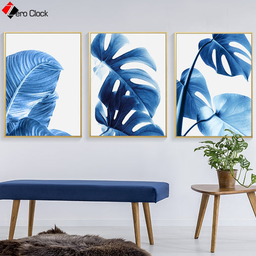 Banana Leaf Canvas Painting Monstera Plant Poster Botanical Print Blue Wall Art Modern Decorative Wall Pictures for Living Room