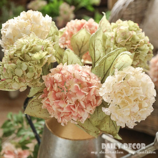 6pcs large vintage silk hydrangea bunch