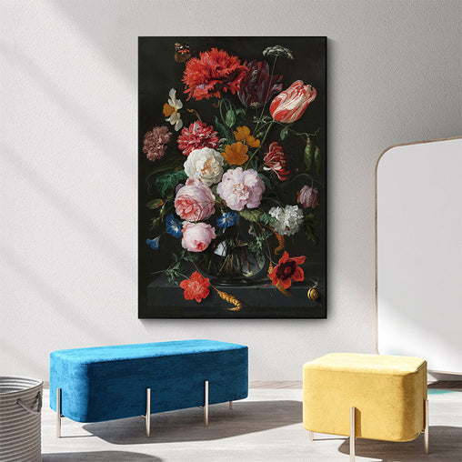 Vintage Canvas Painting - Still Life With Flowers In A Glass Vase