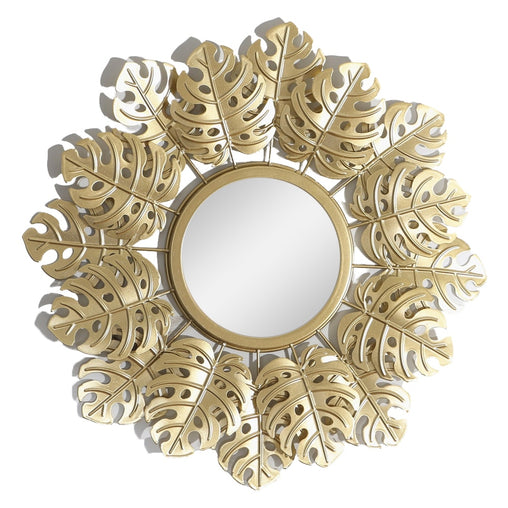 Golden Monstera Decorative Wall Mirror For Living Room Bedroom