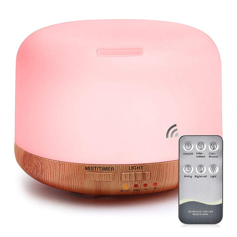 KOLING 500ml Premium, Essential Oil Diffuser, 5 in 1 Ultrasonic Aromatherapy Fragrant Oil Vaporizer Humidifier, Timer and Auto-Off Safety Switch, 7 LED Light Colors