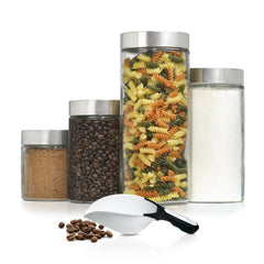 4pc Anchor Hocking See-thru glass Canister set w Brushed metal Stainless Steel lid and Bonus Giant Nylon Scoop.