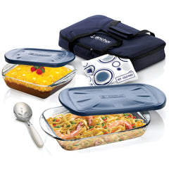 6pc Anchor Hocking Essentials Bake and Take tote set with double bonus Serving spoon and Hot/Cold Pack