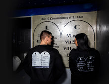 "Load image into Gallery viewer, Le Clan ""The Ten Commandments"" Long Sleeve T-Shirt - Black Tablets"
