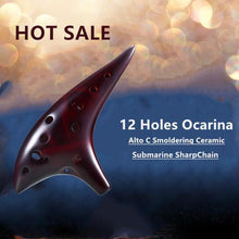 Load image into Gallery viewer, [HOT SALE]-12 Holes Ocarina Alto C Smoldering Ceramic Submarine SharpChain +Display BaseS