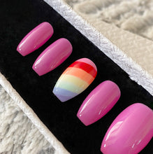 Load image into Gallery viewer, Press On Nails * Rainbow Nails * False Nails * Hand Painted Gel Nails *