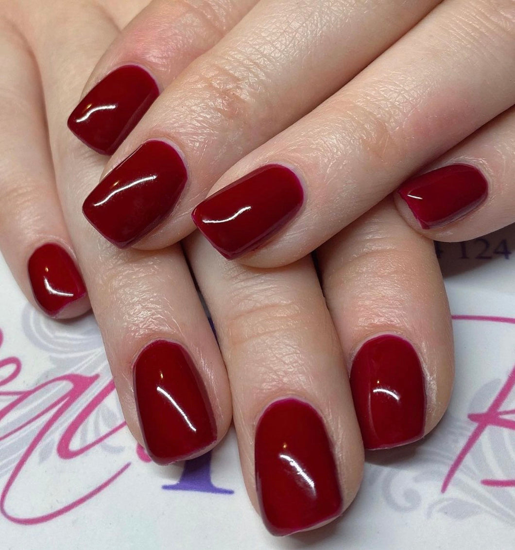 Press On Nails * Berry Red * False Nails * Hand Painted Gel Nails *
