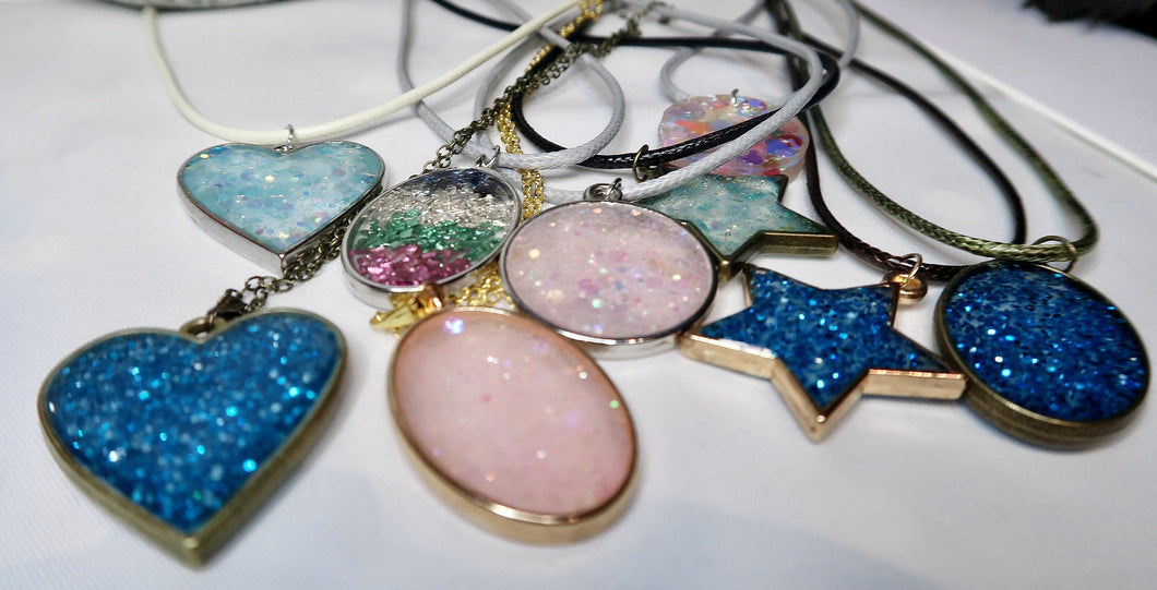 Resin Glitter Bezel Necklaces