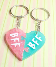 Load image into Gallery viewer, BFF 2 Hearts KeyRing