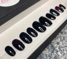 Load image into Gallery viewer, Press On Nails * Black Sparkle * False Nails * Hand Painted Gel Nails *