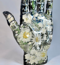 Load image into Gallery viewer, Resin Palmistry Hand with Dried Flowers