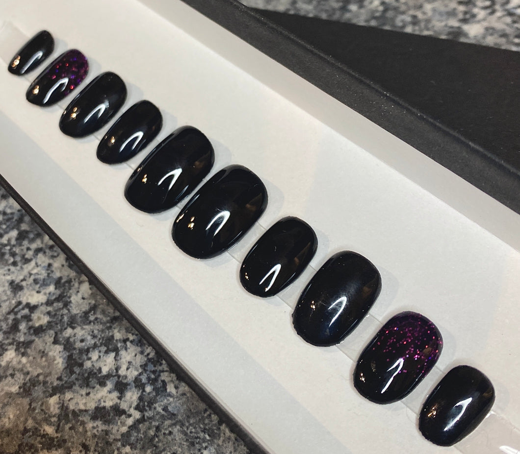 Press On Nails * Black Sparkle * False Nails * Hand Painted Gel Nails *