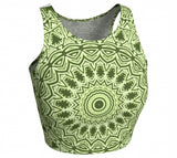 Green Mandala Athletic Crop Top
