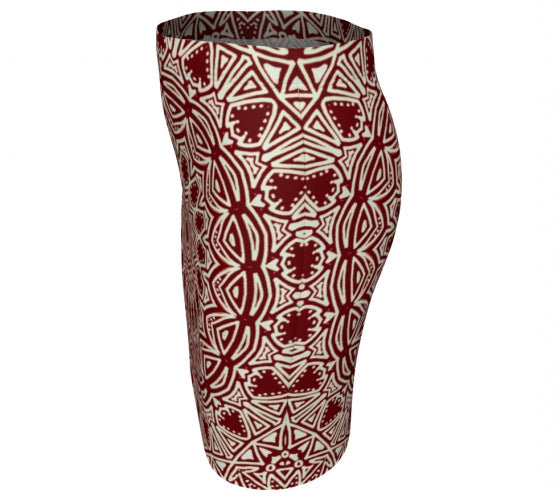 Burgundy Mandala Fitted Skirt