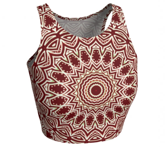 Burgundy Mandala Athletic Crop Top