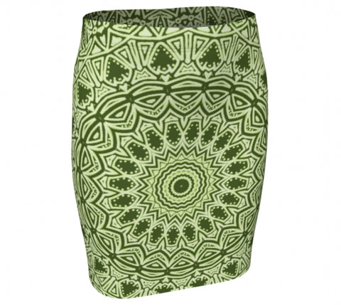 Green Mandala Fitted Skirt